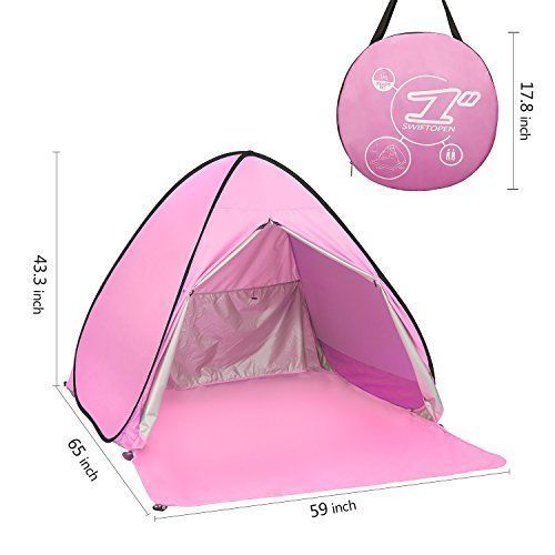Outdoor Camping Beach Hiking Tent Shelter 2 Persons Girls w/ Backpack Pink NEW #Elover