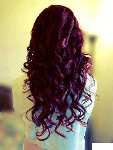 Dark red violet brown hair & waves equal perfection.