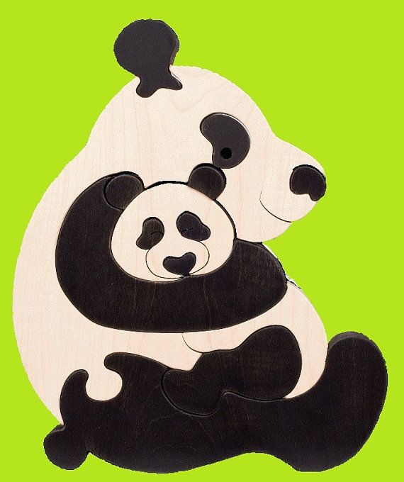 Panda family -Montessori - Waldorf wooden puzzle, made by hand of maple wood,no harmful colors and no lacquer