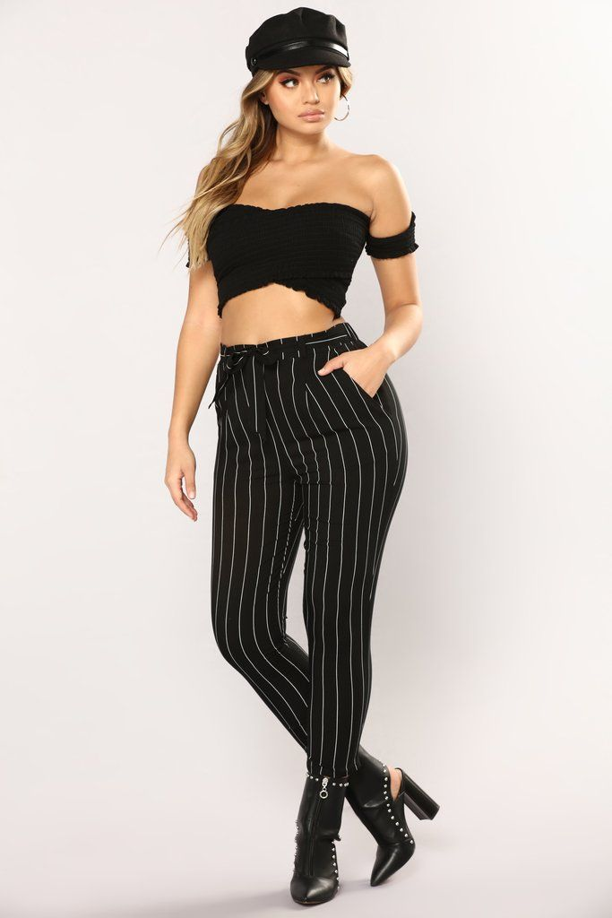 84841ff3fa Lisana Stripe Pants - Black/White Fashion Nova Pants, Venice Beach, Plaid  Outfits