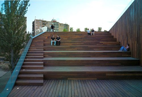 Urban Terraced Landscape with Stairs | Green Design of Wood-Clad Environmental in Spain | Architecture View