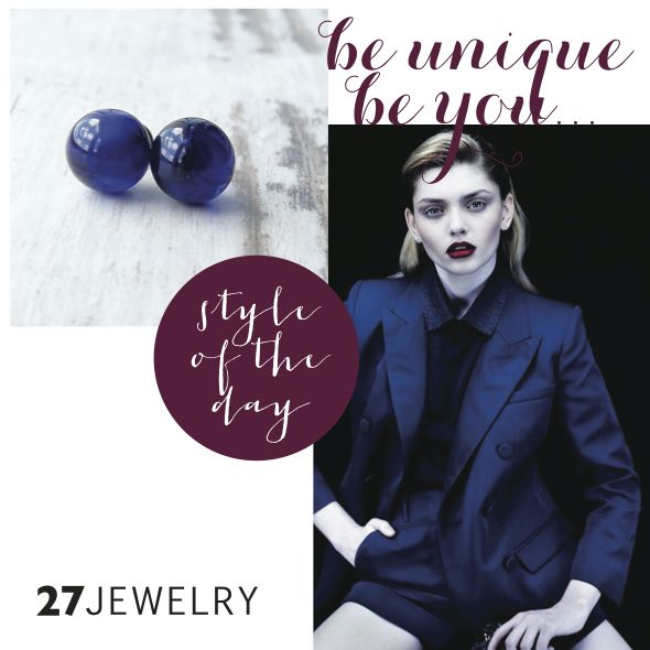 Fascinating and bewitching dark blue handmade glass 27jewelry earrings