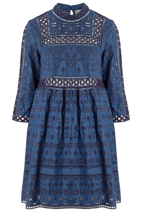 Eyelet Lace Popover Dress