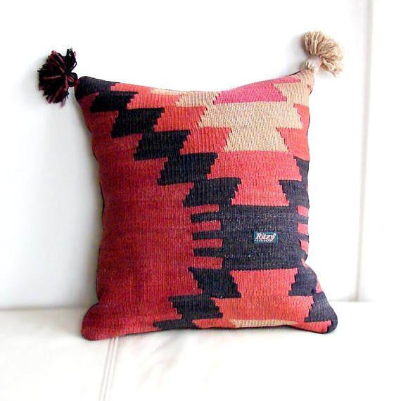 Oriental Throw Pillow Pom pom mini pouf Moroccan cushion