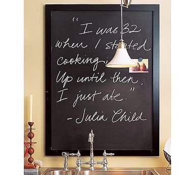 Framed Chalkboard  Pottery Barn put in kitchen for snappy quotes and grocery lists