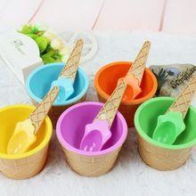 1 шт. детские пластмассовые мороженое миски ложки указан прочный мороженое чашки для детей пары спа-ванны подарки прекрасный десерт чаша(China (Mainland))