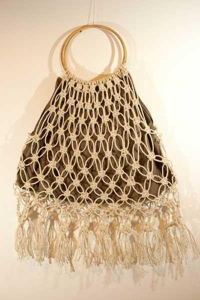 Macramé handbag in natural rope made in Italy di caryhandmade su Etsy