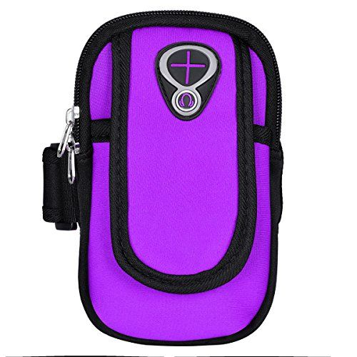 #UEETEK Armband Sports Arm Bag Cellphone Money Keys Cards Holder Jogging Running Cycling Hiking for Phones under 6 inch (Purple)