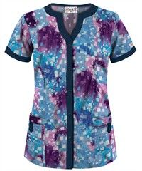 UA Squared Up Turquoise Snap Front Scrub Top