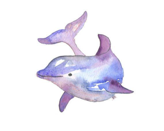 Dolphin Watercolor Art Print Ocean Animal Purple Blue Modern 8x10 Wall Art Decor Illustration Office Baby Nursery Art Hanging
