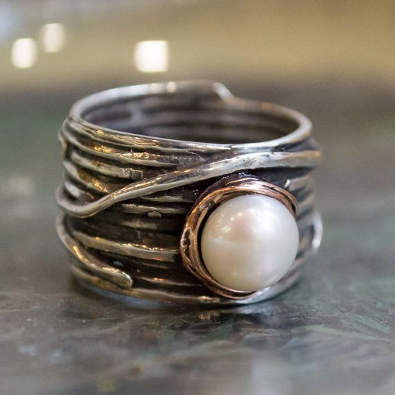 silver engagement ring pearl ring gypsy ring bohemian ring hippie ring - Hippie Wedding Rings