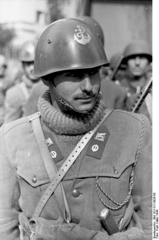 Italian Social Republic naval infantryman, Nettuno, Italy, Mar 1944, photo 1 of 2