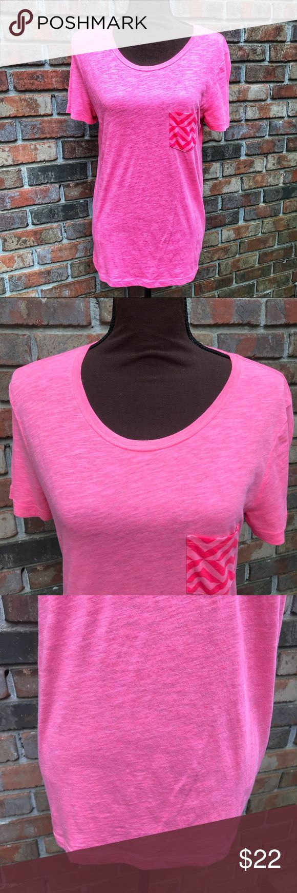 [PINK] Hot Pink Chevron Pocket Burnout Tee Lightly Used   Excellent Condition   Hot Pink Color   Pink Chevron Print Pocket Tee   Short Sleeve   Burnout Style Design   Lightweight   Soft   Length From Shoulder to Hem: 26ins   Bust: 18ins   Sleeve Length: 8ins   60% Cotton   40% Polyester   PINK Victoria's Secret Tops Tees - Short Sleeve