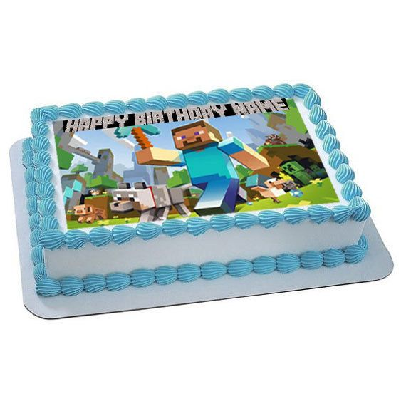 Minecraft Personalized edible image cake topper by trEATmeCards, $8.00