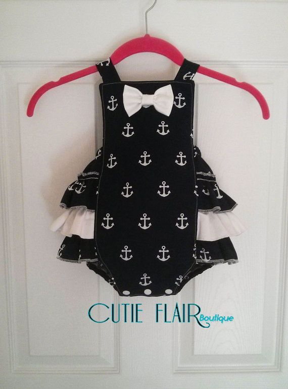 Girls Nautical Navy Romper - Baby Birthday Romper - Girls Anchor Romper - Girl Ruffled Romper - Retro Bubble Romper - Snap Crotch Sunsuit
