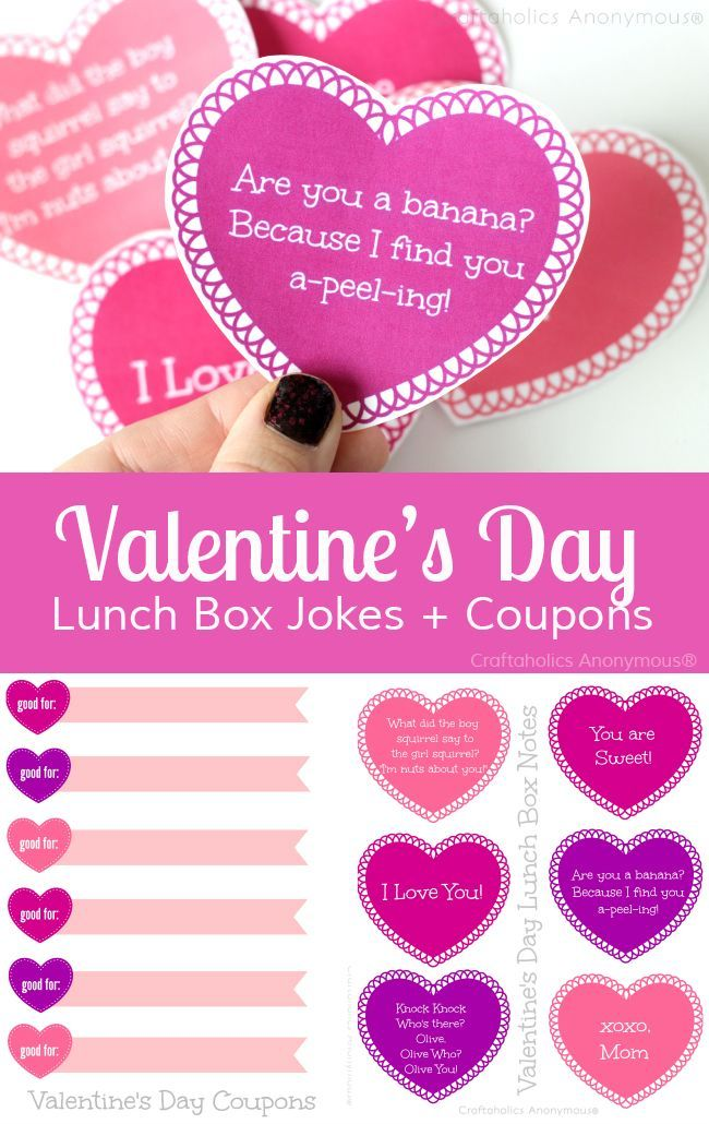 Free Printable Valentine's Day lunch box jokes + V-day coupons || This is a Great idea to help kids feel loved at school!