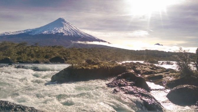Saltos del Petrohue and Volcan Osorno, Chile. #landscapes