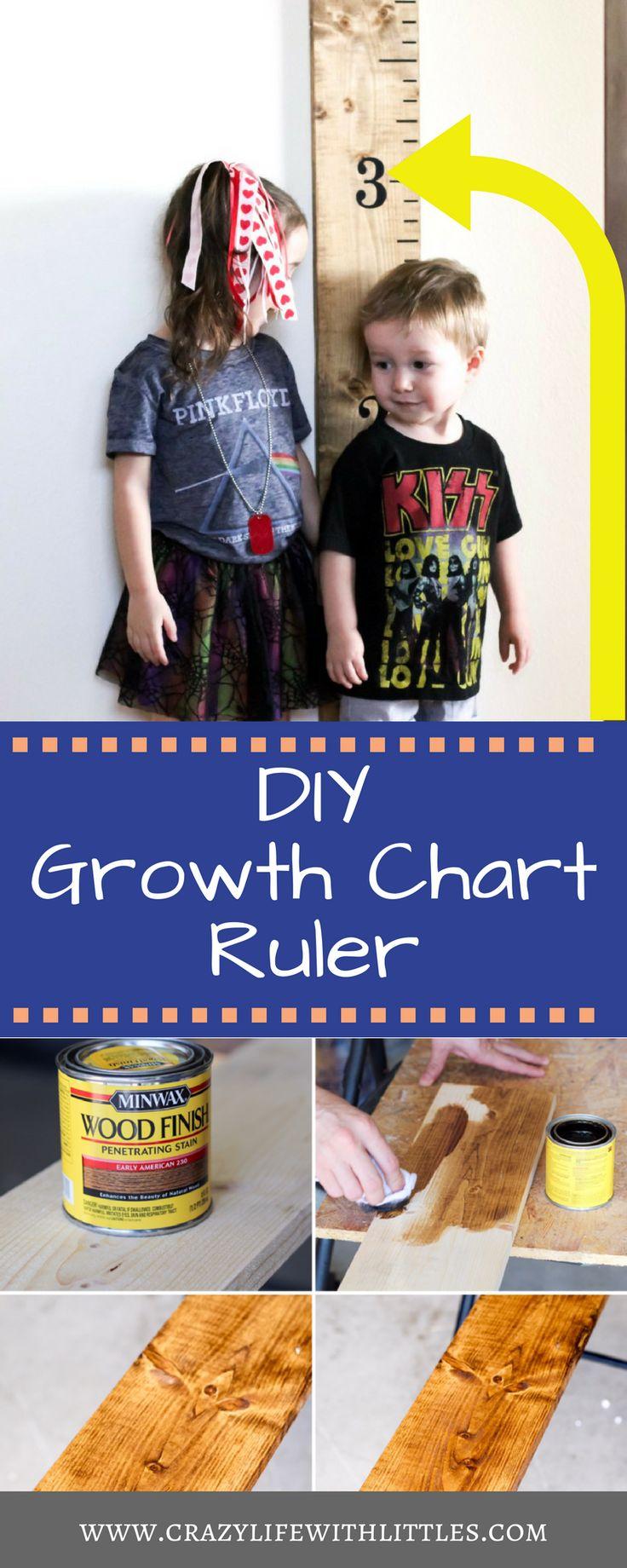 Pottery Barn Knockoff growth chart ruler, diy growth chart for kids, diy growth ruler, diy wooden growth ruler for kids, easy growth chart