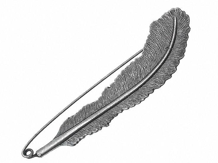 Ansteckbroschen - WANDERLUST Feder Brosche handbemalt Pin Natur Boho - ein Designerstück von SpreeGold-Berlin bei DaWanda