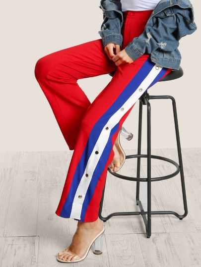5abc0b2cdaa Side Striped Snap Button Track Pants RED