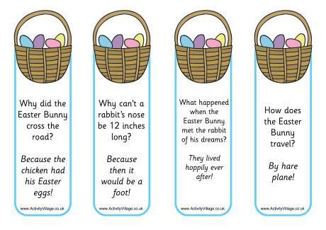 Easter basket jokes bookmarks