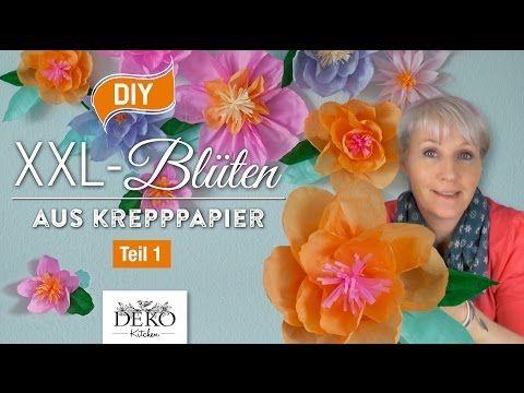 DIY: Riesige Blüten aus Krepppapier für Wanddekos selber machen Teil 1[How to] | Deko Kitchen - YouTube