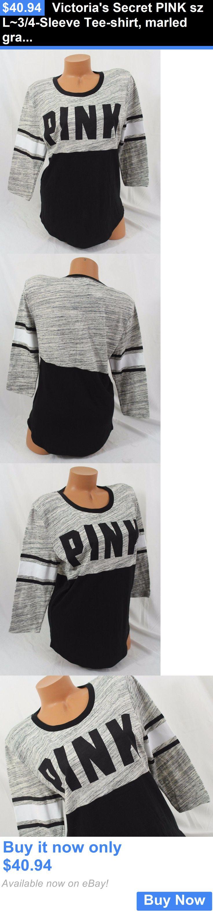 Women T Shirts: Victorias Secret Pink Sz L~3/4-Sleeve Tee-Shirt, Marled Gray/Black Stripe BUY IT NOW ONLY: $40.94