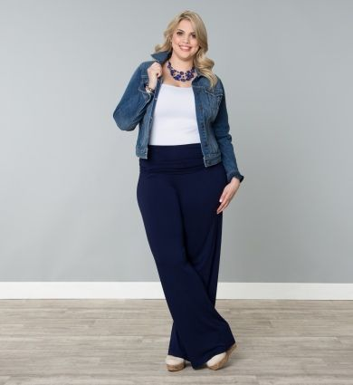 Plus Size Pants Plus Size Clothing Plus Size Fashion at www.curvaliciousclothes.com  Be stylish and relaxed in our Peyton Palazzo Pants. These wide-leg pants are made of a soft knit jersey material that has a wonderful gaucho-like drape that falls away from the body as not to cling. A fully ruched waistband gives you a comfortable and flattering fit for all body shapes.