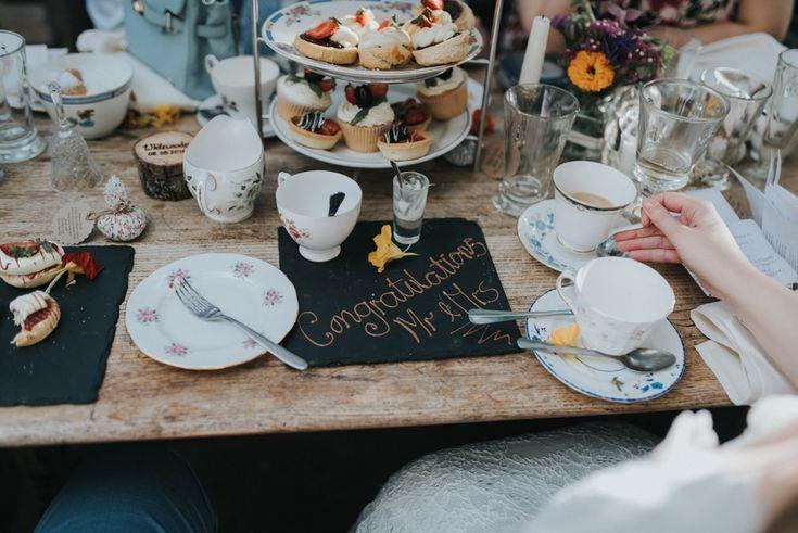 Afternoon Tea Wedding Breakfast - Bai & Elle Weddings Photography & Film   Intimate Budget Wedding at The Secret Garden, Kent   DIY Decor   High Street Wedding Dress   Floral Lindybop Bridesmaid Dresses   Homemade Cake