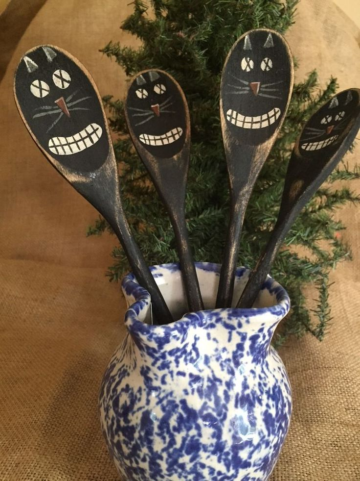 4 Primitive Country Halloween Black Cat Wooden Spoon Utensil Crock Jar Fillers #PrimtiveCountry