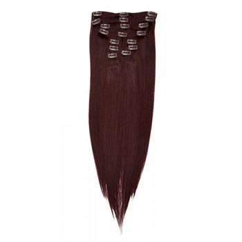 22 inches Dark Auburn(#33) 7 pieces Clip In Human Hair Extension