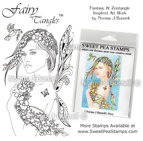 """My newly released rubber stamps """"Posy""""  More of my stamp designs can be found at http://www.sweetpeastamps.com/category_195/Norma-J-Burnells-Fairy-Tangles-Art-Collection.htm"""