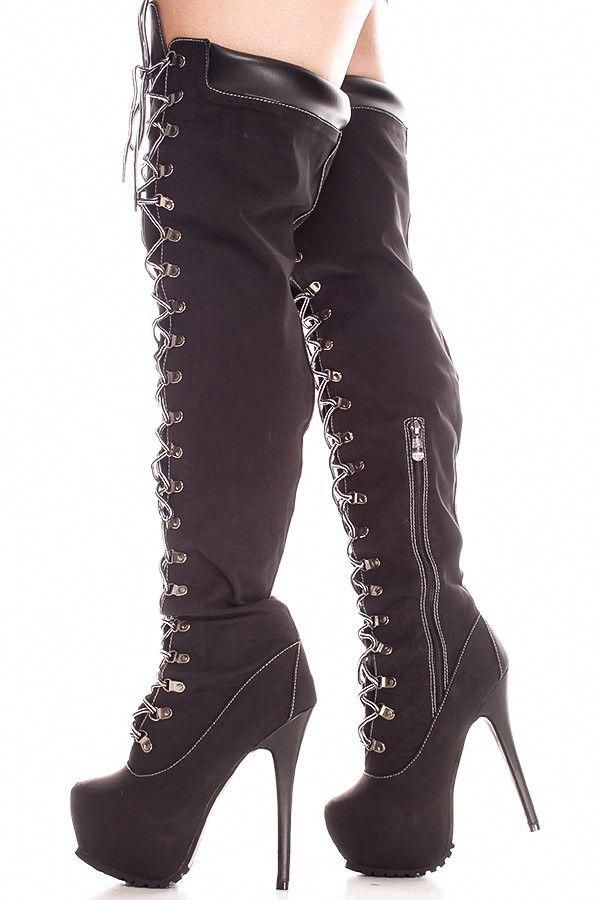 Black Faux Leather Front Lace 6 Inch Bootieswomens Boots Sexy