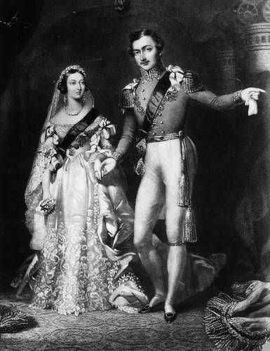 Wedding portrait of Queen Victoria and Prince Albert, February 11, 1840. She wore a white satin dress which has since been imitated by many brides.