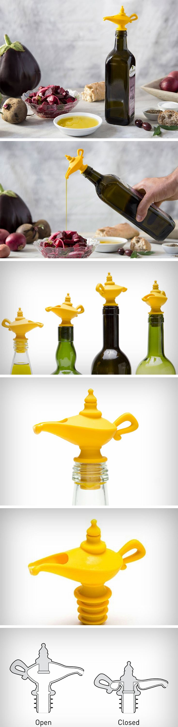 The Oiladdin is appropriate in absolutely every way, because it takes inspiration from the oil lamps used back in the olden days, and uses it as a snout/pourer for an oil bottle! Made entirely out of silicone, the soft construction allows it to securely fit into almost all glass bottles, while the upper part of the lamp can be pressed down to even shut the bottle. BUY NOW!