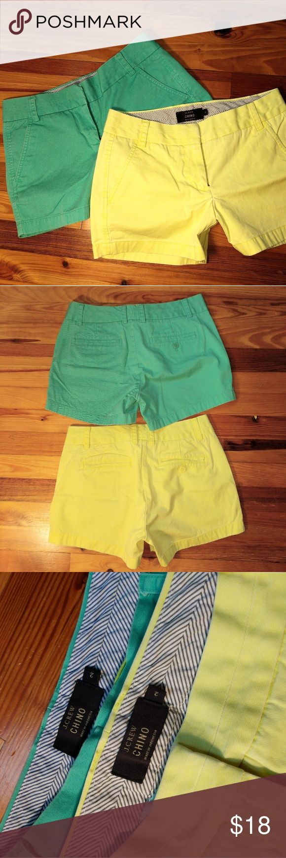 J. Crew Shorts Bundle 2 pair of J Crew Chino Shorts. Price is for the bundle. Yellow (like a neon yellow), and turquoise green. Size 2, good condition. J. Crew Shorts