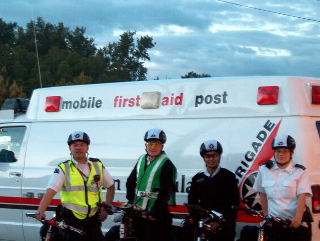 Adult brigade members out on first aid patrol on their bikes!