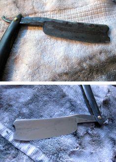 vintage antique straight razor restoration before after