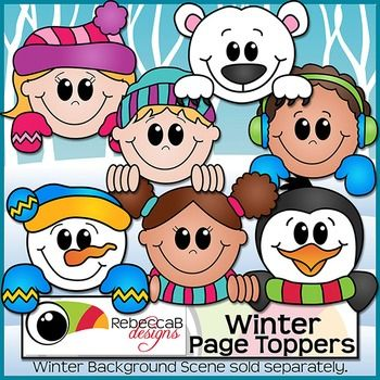 Winter Page Toppers Clip Art contains 7 different Winter themed clip art images in color and the same 7 in black and white.  Create fun Winter worksheets, crafts, posters etc.  These clip art images are approx. 6 inches across so will fit on a letter size page perfectly.