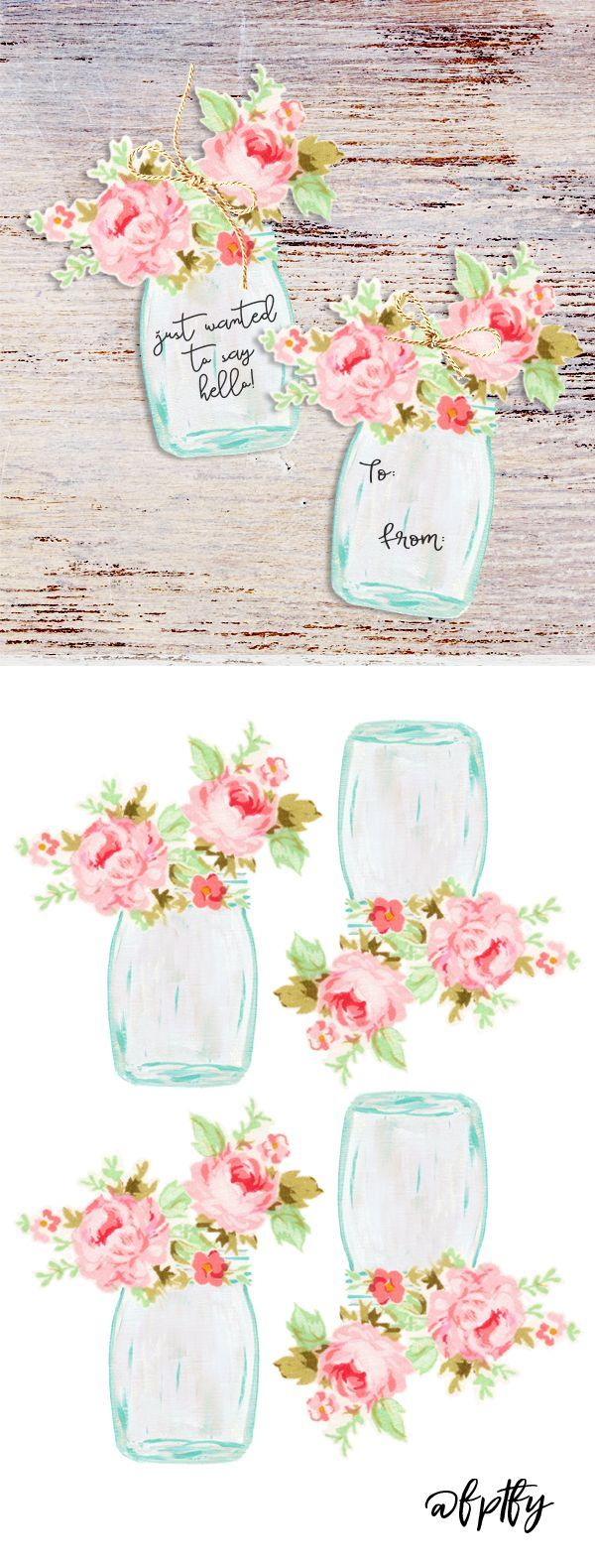 Free Mason Jar Flower Tags
