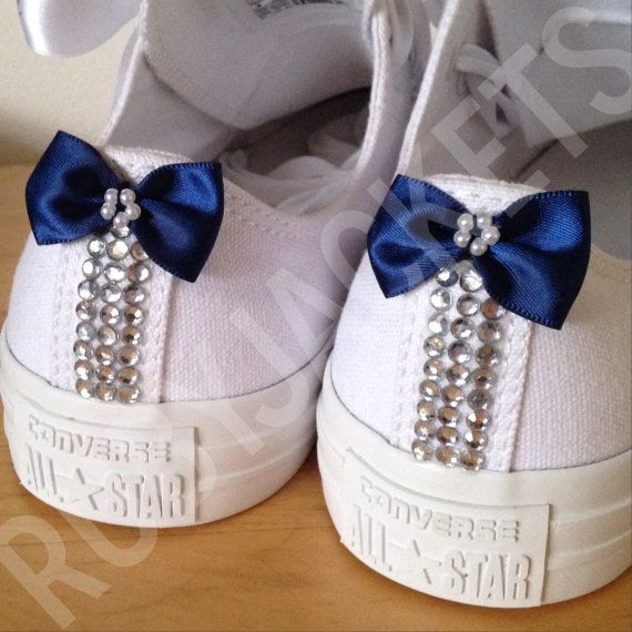 These are super cute and would be pretty easy to make! Navy Blue Crystalled Bridal Wedding Converse by RubyJackets