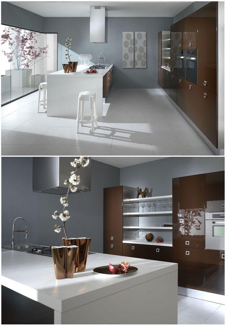 MIKA: #arredamento #cucina in stile moderno. Lacche lucide o opache in diversi colori.