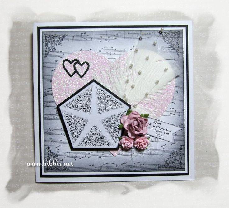 Bestilling på bryllupsgaver med kort. Kortet er i sort og hvit kartong og bakgrunnen er laget med et Impression Obnsession bakgrunnsstemp...
