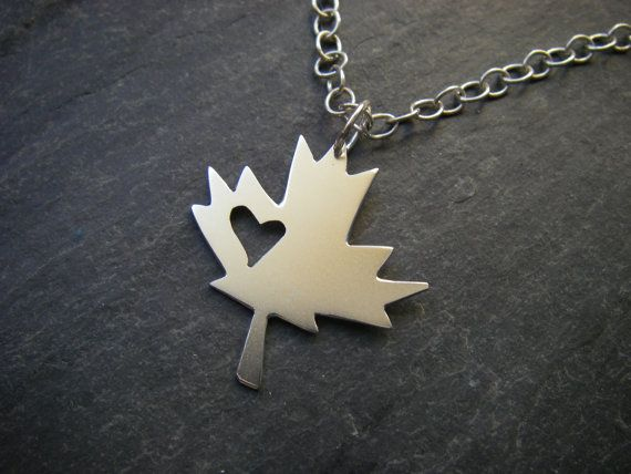 For the gal who LOVES being Canadian, or maybe an ex-pat who feels a little homesick, the Sterling silver maple leaf with heart cutout by #SlashpileDesigns is the perfect gift! #giftguide