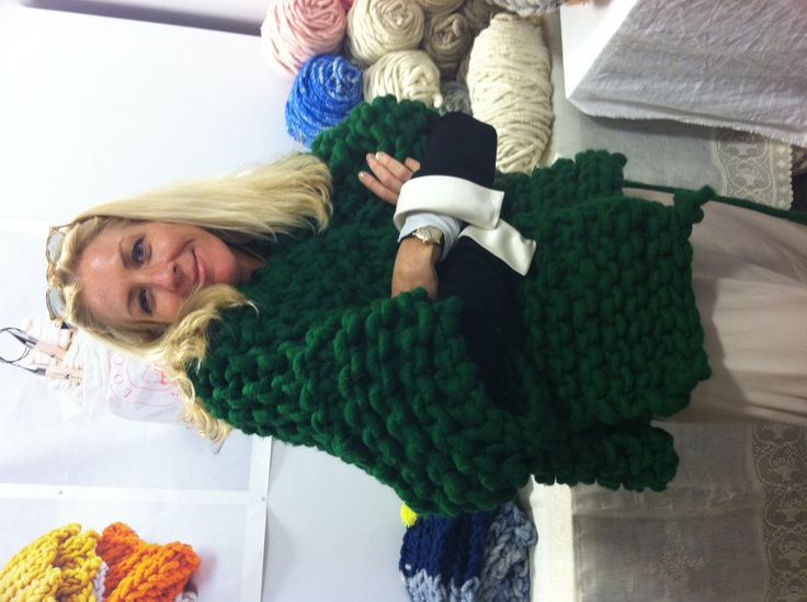 Ever so stylish Beata of Hedgehouse modeling super chunky hand knit Loopy Mango Little Monster's jacket. Available ready made or as DIY kit on loopymango.com