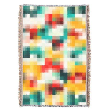 Red Blue Green Yellow White Abstract Pattern Throw - chic design idea diy elegant beautiful stylish modern exclusive trendy