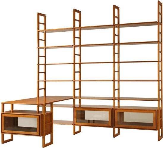 Scala bookcase with modular shelves and cabinets. design by MAAM