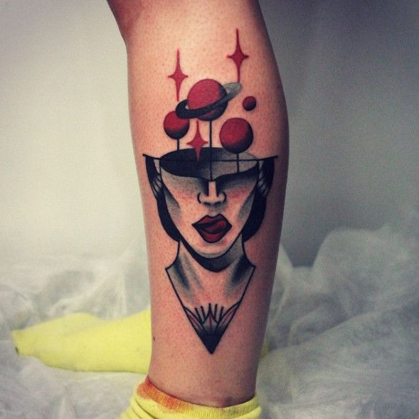 Simple Blackwork Tattoo Ideas Of Girl Face Tattoo For Leg Tattoo Ideas