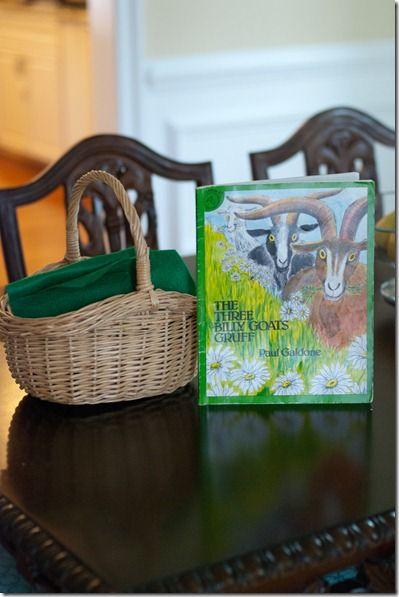 Basket of props to re-tell The Three Billy Goats Gruff from Naptime Novels