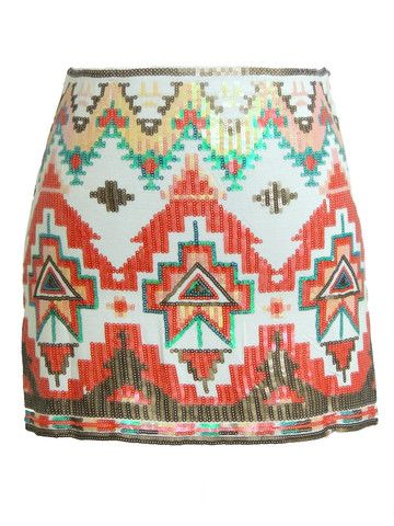 Kiss My Chic Aztec Sequin Skirt - Ivory + Red